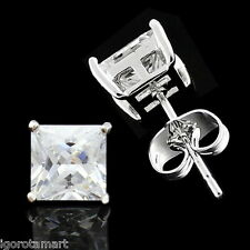 1 Piece WOMEN MENS SILVER SQUARE HIP HOP DIAMOND CUT EAR STUD EARRINGS