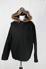 APC PARIS Black wool Alpaca cape Style jacket Fur Hood Sz Small a.p.c.