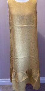 Seasalt Distant Sea Linen Dress Sizes 12 14 16 18 Sandstone Yellow Sleeveless