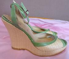 Jones the Bootmaker UK5 EU38 US6.5 green/natural wedge sandals - little wear