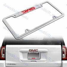 For 1PCS GMC Silver License Plate Frame Stainless Steel Metal New