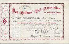 Odd Fellows Hall Assoc. Stock Certificate 1891 Needham MA great graphics