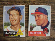 1953 TOPPS BASEBALL LOT OF 2 CARDS SOLLY HEMUS & DALE MITCHELL EX CONDITION