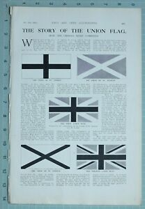 1914 WW1 PRINT UNION FLAG COMBINED CROSSES ST GEORGE SY ANDREW UNION JACK