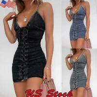 Women's Denim Cami Dress Elastic Stretch Bodycon Summer Causal Jean Mini Skirt