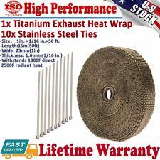 "Titanium Manifold Exhaust Header Insulation Heat Header Wrap Tape Roll 1""x50'FT"