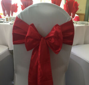 RED TAFFETA SASHES - CHAIR BOWS - WEDDING EVENTS PARTY DECOR - 10 PACKS