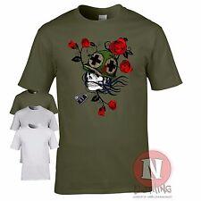 Calavera Con Perro Etiquetas WW2 Vietnam Militar Artillería Armadura Camiseta