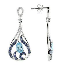 14K WHITE GOLD PAVE DIAMOND BLUE SAPPHIRE TOPAZ TEARDROP DANGLING EARRINGS