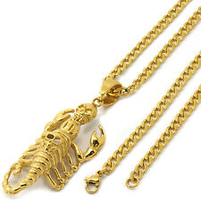 "Stainless Steel Gold Plated Scorpion Skull Pendant 4mm 24"" Cuban Necklace Chain"