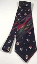 Bugatti Necktie purple multi color neck tie 100% Italian Silk