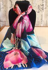 Oscar de la Renta Silk Scarf Accessory Street Floral Tulips Pink Blue Black Nice