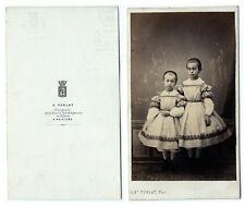 photo cdv enfant / soeurs en robe blanche mode empire 1860 par Perlat à Poitiers