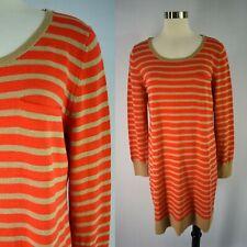 GAP Sweater Dress L 12 14 Wool Blend Orange Beige Stripes Stretch Chest Pocket