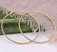 9CT  Gold GF Unique Hoop Round Large Circular 60mm  Earrings