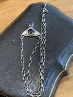 Vintage Sterling Silver Necklace With 2 Cabochon Amethysts