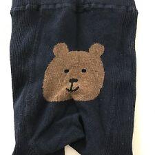 GAP Children's Girls Teddy Bear Dark Navy Blue Ribbed Tights