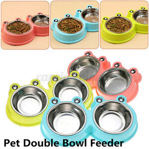 Stainless Steel Double Bowl Pet Dog Cat Food Water Non-Slip Slow Eating Feeding