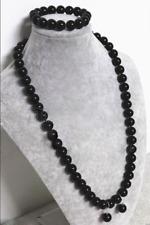 Handmade 8mm Natural Black Agate Onyx Round Beads Necklace Bracelet Earring Set
