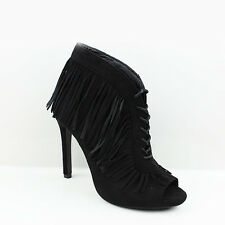 Womens Ladies High Heel PEEP Toe Lace up Tassle Ankle BOOTS Shoes Size 3-7 UK 4 Black