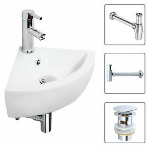 Modern Corner Basin Sink Wall Hung Ceramic Bathroom Corner Sink and Mixer Waste