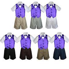fd31ed7592 4pc Set Boy Toddler Formal Purple Vest and Bow tie White Black Khaki Shorts  S-