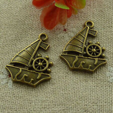 free ship 60 pieces Antique bronze sailing boat charms 29x22mm #2836