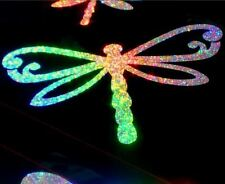 *RAINBOW HOLOGRAPHIC*  Set of 3 DRAGONFLY STICKERS  CAR DECAL