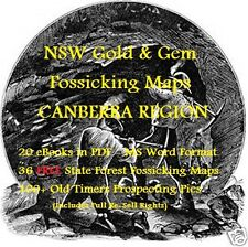 CD - NSW Gold Canberra Region 20 eBooks - 36 FREE Forestry Fossicking Maps