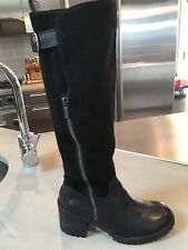 Women's  LUCKY BRAND Black Suede And Leather Tall Boots Size 6m