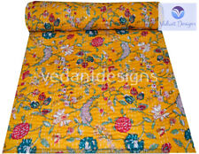 Indian Embroidery Kantha Quilt Bedspread Floral Throw Cotton Yellow