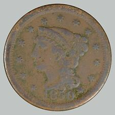1850 1C N-14? Braided Hair Cent, See Description