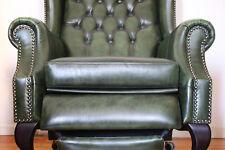 Chesterfield 1 Sessel, echt Leder mit Liegefunktion -Luxus - green - grün - Edel