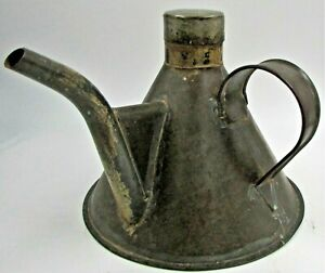 Antique Hand Forged Handmade Oil / Kerosene Lamp Filler Can Lid Dated 1907