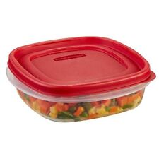 Rubbermaid Easy Find Lid Square 3-Cup Food Storage Container, Red