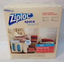 New 12 Ziploc Space Saver Vacuum Seal & Roll Up Bags Airtight & Watertight Seal