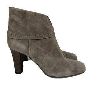 GEOX Ankle Boots 10 Womens Suede Bootie Taupe Size Zip Heels Comfort Casual
