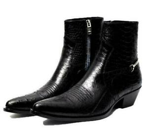 Chelsea Ankle Boots Men Serpentine Leather Pointy Toe Side Zippers Formal Boot F