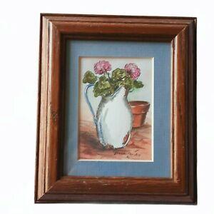 Jeanne Mack Framed Original Art Floral Flowers Pitcher Vntg 1984 Mat