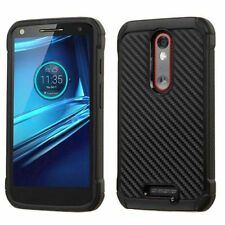 For Motorola Droid Turbo 2 Black Carbon Fiber Hard Silicone Hybrid Case Cover