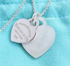 TIFFANY & CO  DOUBLE MOP/STERLING RETURN TO NEW YORK HEART NECKLACE W/Pouch-Nice