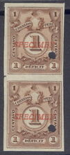 Peru 1909, 1c Due, IMPERF PAIR, American Bank Note Co. SPECIMEN overprint. #J40