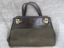 Barry Kieselstein-Cord Vintage Brown Leather & Fabric Handbag Gold Alligators