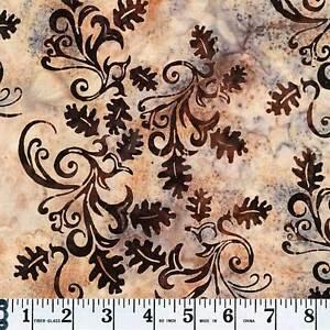 Hoffman ½ yd Batiks Bali  J2371-A64 Oak Leaves Antique Tan