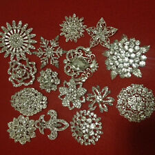 "Wholesale Wedding Bridal Brooch Bouquet Pin Rhinestone Large 1.5""- 3"" - Mixed 15"