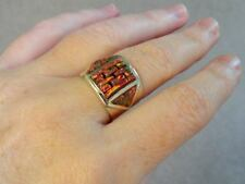 Larger BRILLIANT RED FIRE OPAL Ring 11 Kingsman Mens Sterling Silver 925