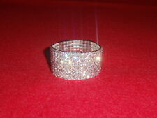 STUNNING 8 ROW RHINESTONE DIAMANTE STRETCHY CRYSTAL BRACELET UK