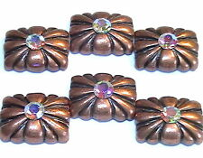 6 - 2 HOLE SLIDER SPACER BEADS 5.5mm RAINBOW AB AUSTRIAN CRYSTAL ANTIQUED COPPER
