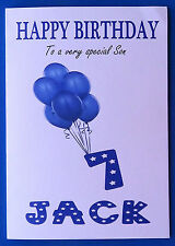 PERSONALISED 7th Birthday Card, Baby BOY Balloons, SEVENTH Birthday Card Age 7