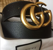 100% AUTHENTIC GUCCI black leather belt with GG buckle size36''